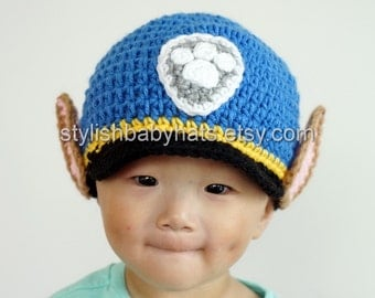 Chase Hat, PAW Patrol Hat, Crochet Baby Hat, Police Dog Hat, photo prop, Inspired by Chase from PAW Patrol