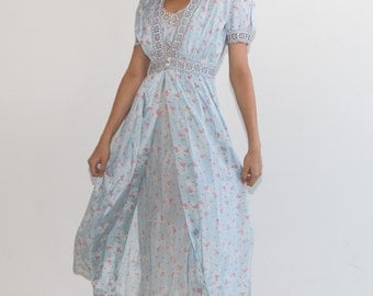 FURTHER REDUCTION was 250 now 150 stunning VINTAGE 40's/50's ice blue floral print robe gown peignoir bodouir set slip dress lingerie