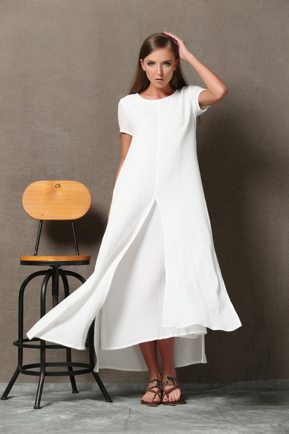 White Layered cotton Linen Dress Loose-Fitting Short Sleeved