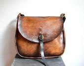 Mail bag- Distressed leather flap shoulder cross body bag