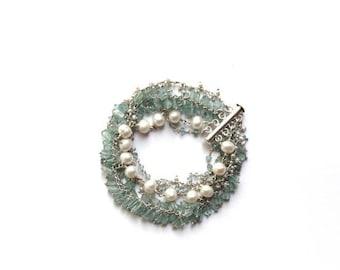 Apatite and Pearl Multi Strand Bracelet, Aqua, Apatite Bracelet, Apatite Jewelry, Apatite Beads, Statement Bracelet, Freshwater Pearl,Silver