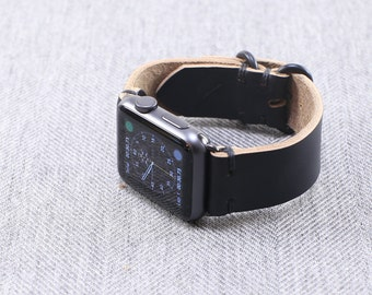 Custom Leather Apple Watch Band: Horween Leather Strap in Black Chromexcel, Apple Watch Adapters, Loop Hardware