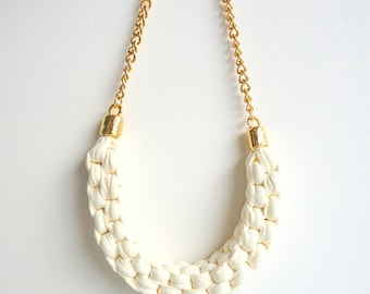 Bib necklace, Ivory necklace, chunky necklace, statement necklace, T shirt necklace, upcycled necklace, knotted necklace, gold chain neckace