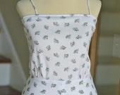 SALE--vintage 1970s white dress with little flower bouquet print