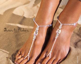 Bridal foot jewelry Sparkle Crystal Rainbow Barefoot Sandals Bridal barefoot sandal Beaded Barefoot Sandals Bridal accessory Beach Wedding