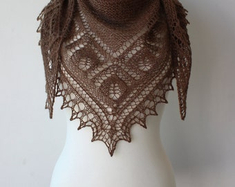 Brown hand knit alpaca shawl,  warm and soft  shawl, triangular lace wrap, woman cover up, kerchief, tippet