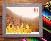 Sonoron Desert Mixed Media Fine Art Print of Original Painting Cacti Cactus Southwest Acrylic Artis tArizona Lookout Mountain Hiking Photo