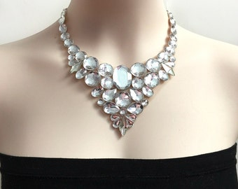 clear and white opal bib rhinestone necklace