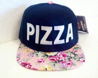 Custom Embroidery PIZZA Light Pink Flat Bill Floral Black Hat Snapback Flower Rose