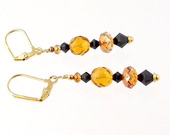 Topaz and Black Crystal Beaded Earrings, Glass Bead Earrings, Dressy Earrings, Career Wear, Fall Jewelry