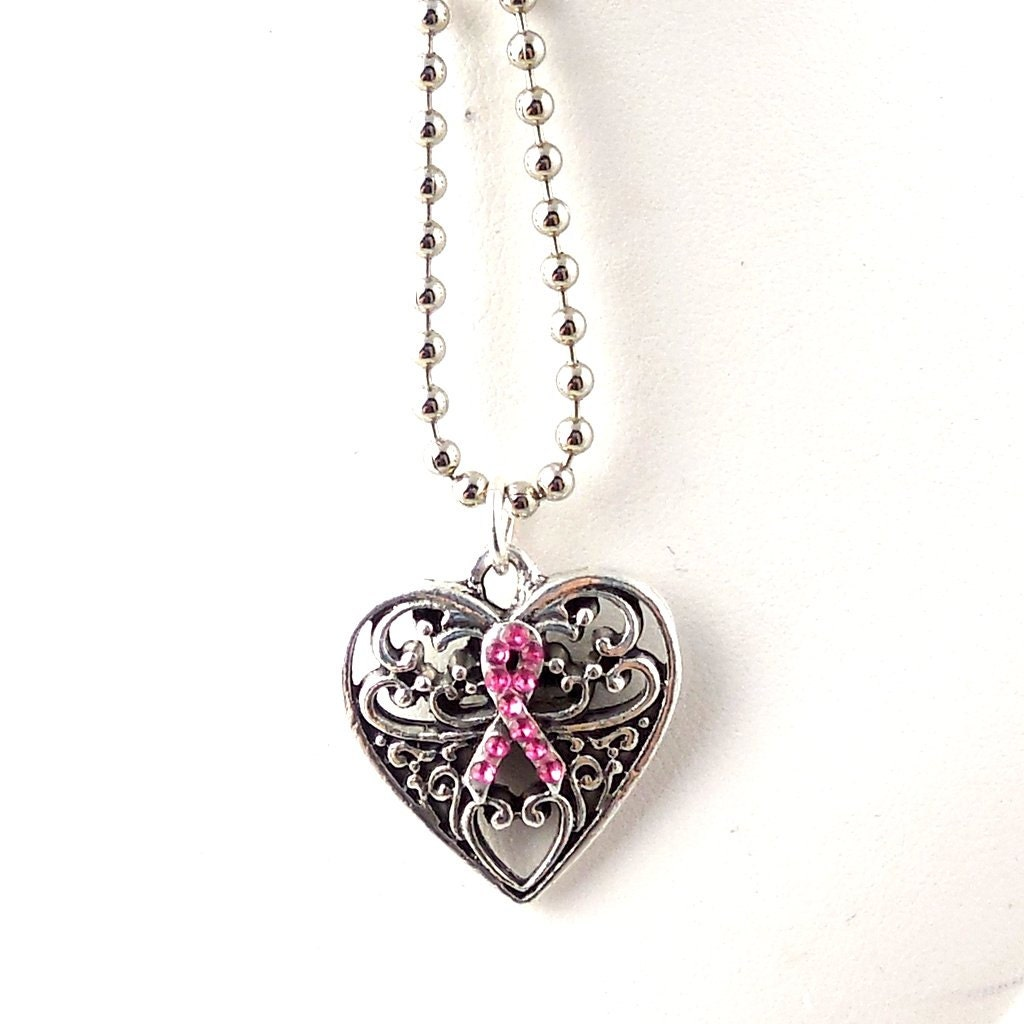 pink ribbon necklace pendant necklace breast by
