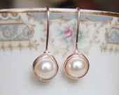 Cream Pearl Earrings , Bridesmaid Earrings , Rose Gold Drop Earrings , Rose Gold Pearl Earrings