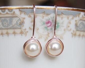Cream Pearl Earrings , Bridesmaid Earrings , Rose Gold Drop Earrings , Rose Gold Pearl Earrings