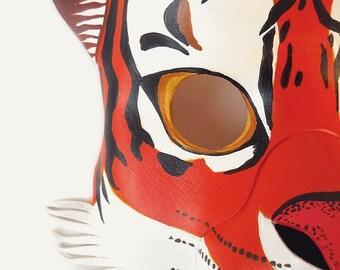 Tiger Mask Leather Halloween Animal Costume Leopard Puma Cheetah Wild Cat Orange Carnival Masquerade Mardi Gras Party Kids Children Adults