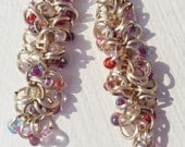 Earrings silver plated, chain maille, silver rings with pink, red, white and purple seed beads