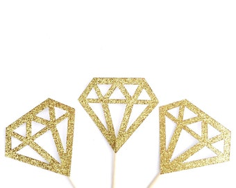Glitter Diamond Cupcake Toppers - 12 Gold, Silver, or Champagne Glitter Cupcake Toppers - Wedding Decor, Engagement Party, Bridal Shower