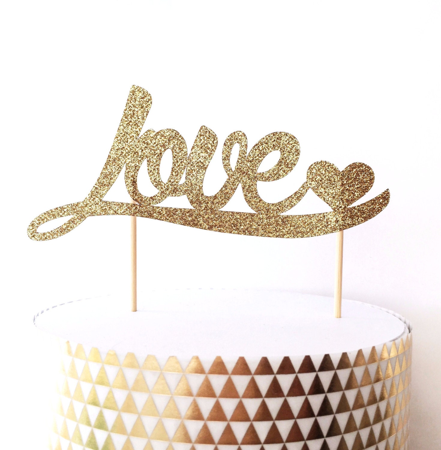 Love and Heart Glitter Cake Topper Gold or Silver Cake