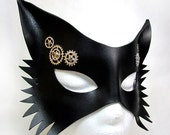 Steampunk Wolf Mask, Black leather, sexy steamgoth with silver gears, sprockets, rivets, fetish, gothic, fox, animal