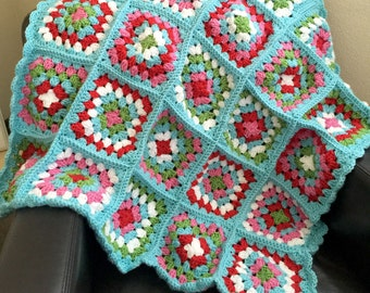 Granny Square Blanket - Spring (Ready to Ship)