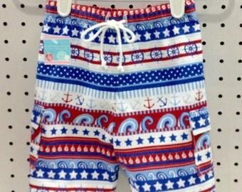 Baby Boy Nautical Swim Trunks/Red, White & Blue/Swimsuit/Swim Shorts