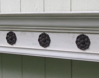 "74"" Distressed White Fireplace Mantel with Medallions - Large Wall Shelf - Crown Molding Shelf"