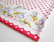 Rabbit and Friends happy in the wild, pink White Dot, Girl Dress, baby shower, Kid Clothes, Little Bird, Cartoon, Pillow cover, bag, CT383