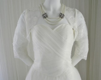 Custom Made Netted Wedding Dress with Matching Lace Bolero