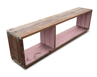 "ON SALE! Recycled Wood Stackable Modular ""Traveller"" Bookcase / Shelf / Entertainment Unit With Silver Buckles - Pastel Blush Pink"
