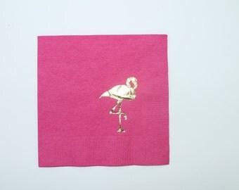 Flamingo Gold Foil Cocktail Napkins