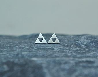 Geometric Triangle Stud Earrings, 925 Sterling Silver Triangle Post Earrings, Tiny Geeky Nerdy Jewelry