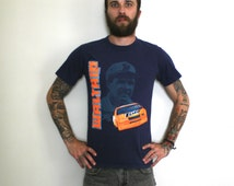 Nascar Darrell Waltrip Vintage Tide Car Graphic T Shirt. Authentic Small Hipster Redneck Racecar Fashion. 90s Style Blue Orange Shirt