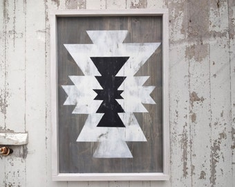Black and white aztec pattern rustic wood sign
