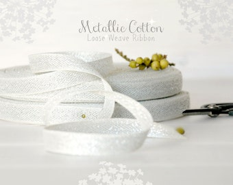 """Cotton Ribbon with Silver - 3 or 6 Yards of Silver Cotton Ribbon -  1/2"""" wide - Loose Weave Ribbon - Metallic Cotton Ribbons - DIY Wedding"""