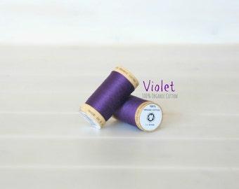 Organic Cotton Thread GOTS - 300 Yards Wooden Spool  - Thread Color Violet - No. 4813 Eco Friendly Thread - 100% Organic Cotton Thread