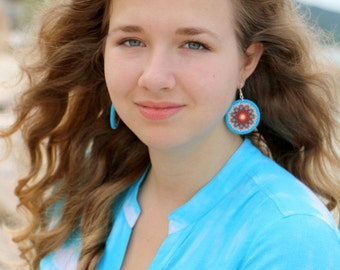 Turquoise Orange Earrings, Statement Jewelry, Large Round Dangle, Lead  Nickel Free, Hypo-allergenic, Bold Jewelry, Gypsy Bohemian Mandala