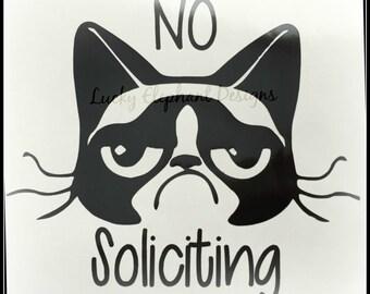Funny No Soliciting Vinyl Decal - Funny No Soliciting Sign - No Soliciting Window Decal - No Soliciting Door Decal