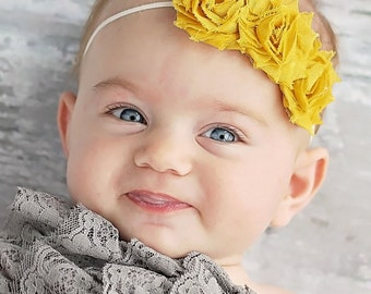 Mustard Shabby chic Headband  Newborn headband Baby girl headband Toddler Elastic Photo Prop