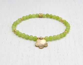 Summer SALE - Lime green bracelet, Green jade bracelet, Gold flower charm