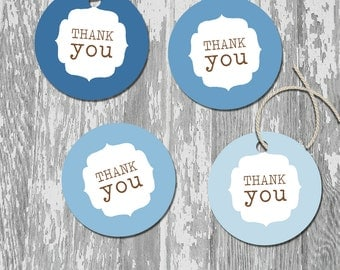 Blue Ombre Printable Thank You Favor Tags Stickers Labels INSTANT DOWNLOAD Clouds And Kites Collection
