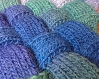 Blue and Green Hand Knitted Wool Entrelac Scarf