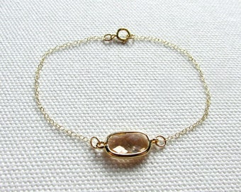 Blush Bracelet, Bridal Jewelry, Peach Champagne and Gold Crystal Bridesmaid Wedding Gold Plate or 14k Gold Fill Chain, Dainty Modern Jewelry