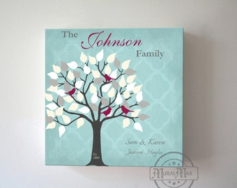 Gift for Couples, Custom Family Tree Canvas Art ,Tree With Lovebirds Romantic Gift for Wife, Personalized Aniversary gift,