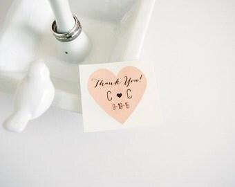 Custom Peach Heart Stickers Labels Seals. 1.5 inch Heart Shape Labels. Wedding Invitation Seals. Peach Orange Heart Envelope Seals