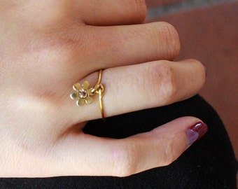 Flower Charm Midi or Regular Ring - gold only