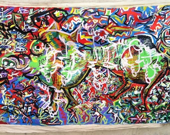 Abstract expressionist mural arts paintings Enormous mosaic pig outsider art street graffiti style of Pollack Basquiat Combas linen backdrop
