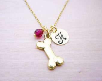 Bone Necklace - Gold Initial Necklace - Birthstone Necklace - Gold Initial Necklace - Personalized Necklace - Bone Charm - Dog Charm