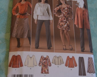 Simplicity 2766 Misses-Womens Skirt Pants Jacket and knit dress or Tunic Sewing Pattern - UNCUT - Sizes 10 12 14 16 18