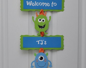 Monster Bash Door Sign, Monster Birthday Party Door Sign
