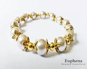 Bridal Jewelry -  Faux Pearl and Gold Plated Bead Cap Stretch Bracelet, One of a Kind Design