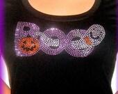 Halloween Boo Rhinestone Tshirt Women's Size Small  Black Tee Shirt Goth Top